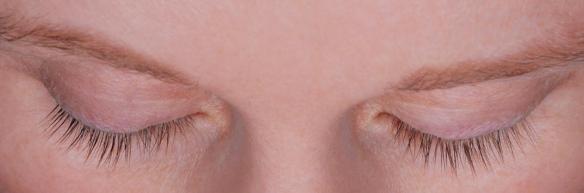 Eyelashes before Latisse thickening and darkening